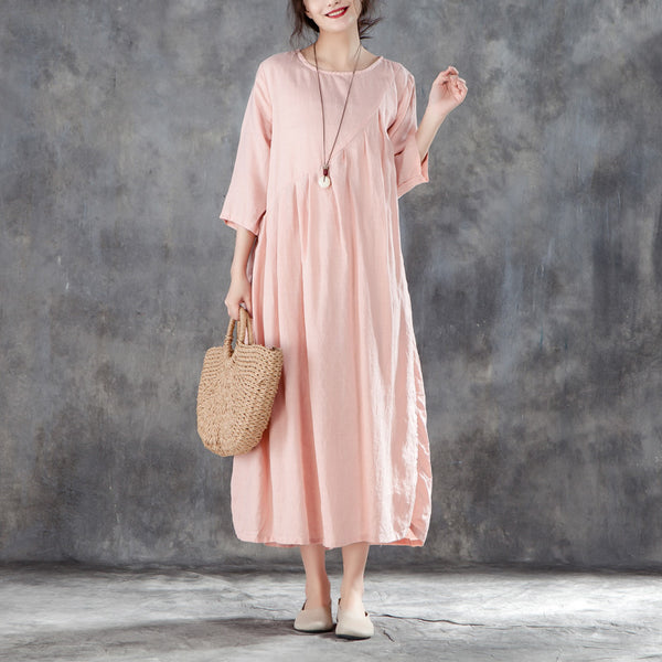 Linen Round Neck Three Quarter Sleeve Pink Pleated Dress