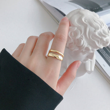INS Irregular Silver Double Layer Opening Ring