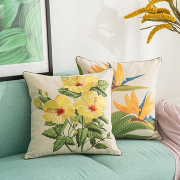 Idyllic Embroidered Flower Sofe Pillowcase / Cushion Cover