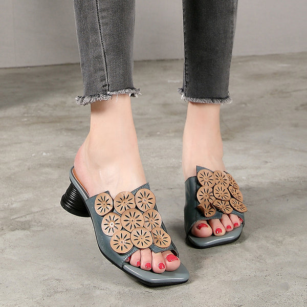 Indie Folk Leather Floral Women Slippers