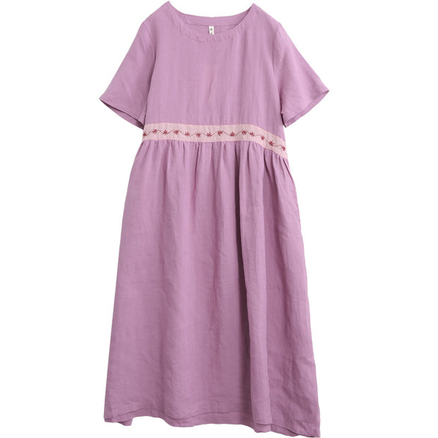 Indie Folk Linen Short Sleeve Dress