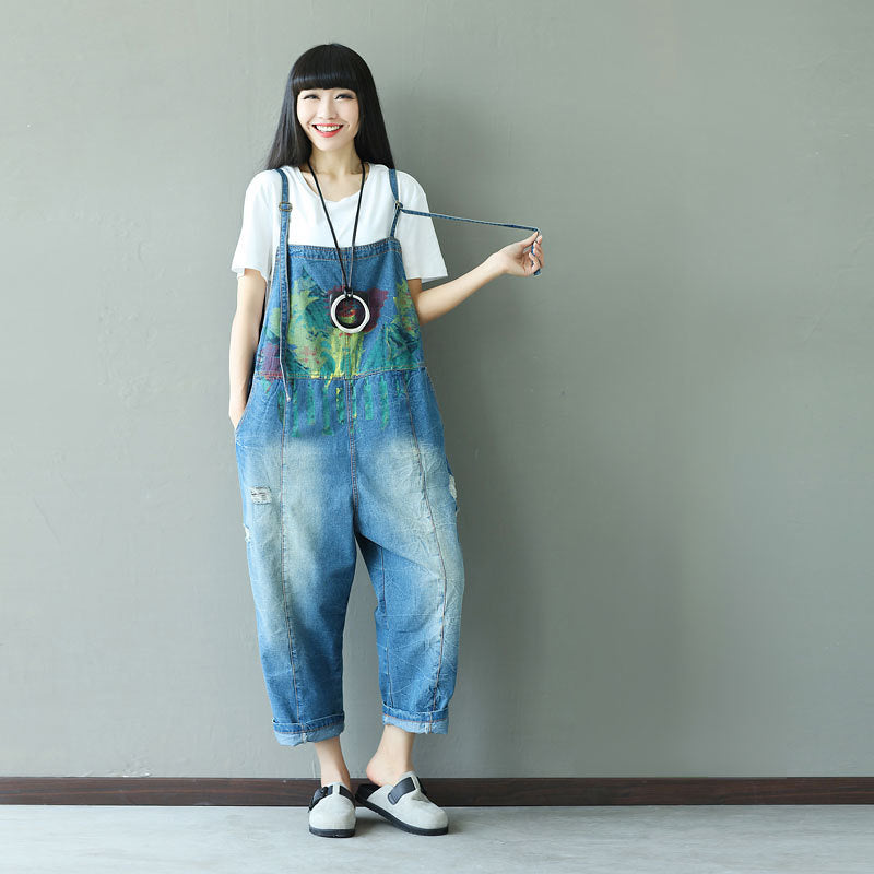 766fb6b746 Ink Watercolor Hole Personality Women Jumpsuit