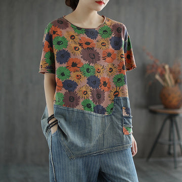 Irregular Hem Floral Print Splicing Denim T-shirt