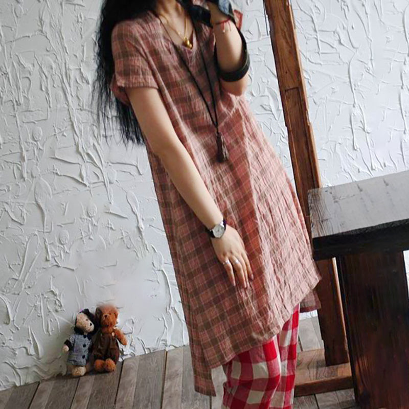 Irregular Hem Cotton Linen Plaid Long T-shirt