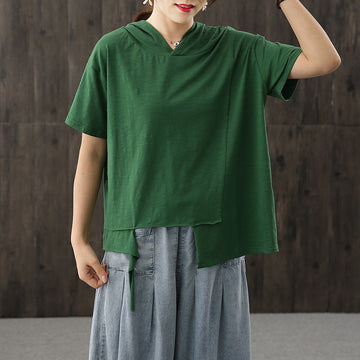 Plus Size - Irregular Hem Short Sleeve Cotton Hoodie