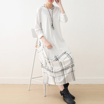 Irregular Plaid Stitching Long Sleeve Spring Summer Dress