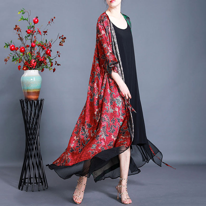 Irregular Print Spliced 100% Mulberry Silk Coat