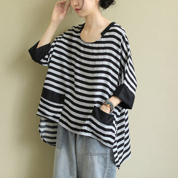 Plus Size - Irregular Stripe Bat Sleeve Loose Blouse