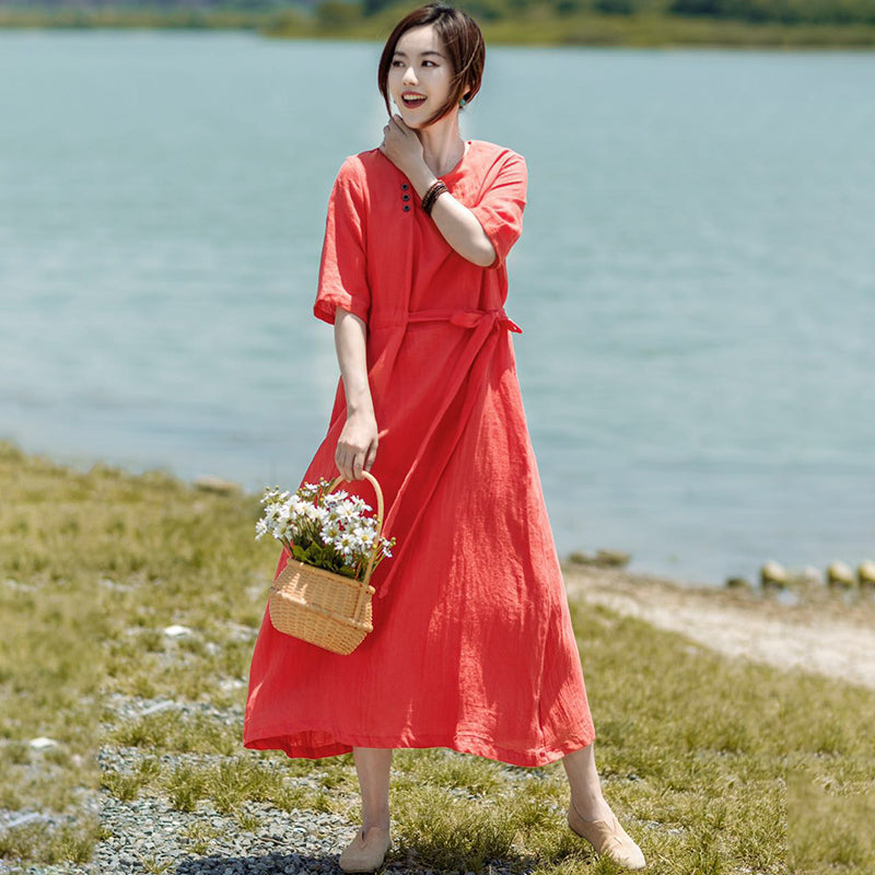 Irregular Collar Drawstring Casual Midi Dress