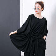 Irregular Design Pleated Solid Color T-Shirt