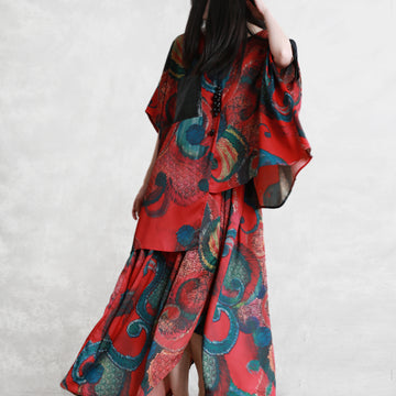 Irregular Design Printed Drawstring Two Piece Suit