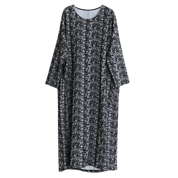 Irregular Design Retro Loose Round Collar Dress