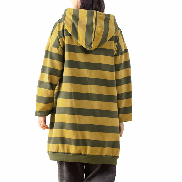 Irregular Drawstring Women Stripe Hoodie