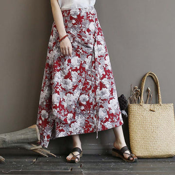 Irregular Hem Floral Casual Skirt