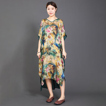Irregular Hem Floral Printed Silky Dress