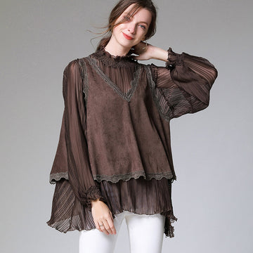 Plus Size - Irregular Hem Lace Fake Two-piece Blouse