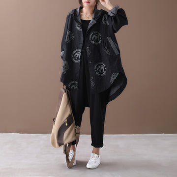 Irregular Hem Printed Black Denim Hooded Coat