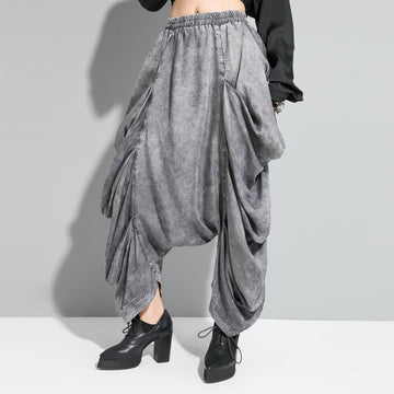 Irregular Pleated Loose Low-crotch Pants