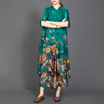 Irregular Print Short Sleeve Blouse And Wide Leg Pants