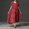 Irregular V-neck Red Short Sleeve Cotton Dress