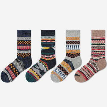 Jacquard Thickened Cotton Socks for Men (2 Pairs)