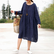 Jacquard Pleat Blue Linen Loose Dress