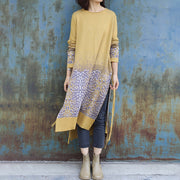 Jacquard Side Split Loose Long Knit Shirt