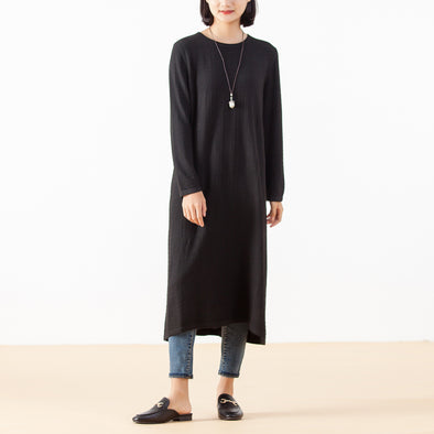 Jacquard Wool Solid Loose Round Neck Dress
