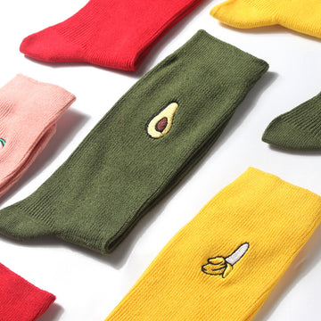 Japanese Embroidered Fruit Cotton Socks
