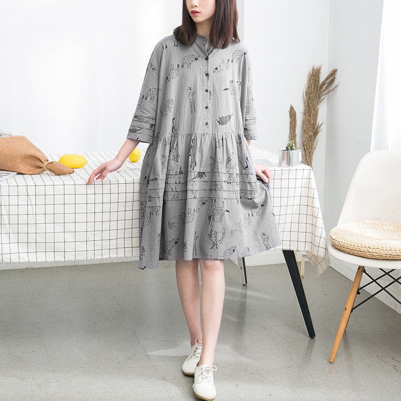 Folded Women Loose Printing Causal Cotton Gray Dress - Buykud