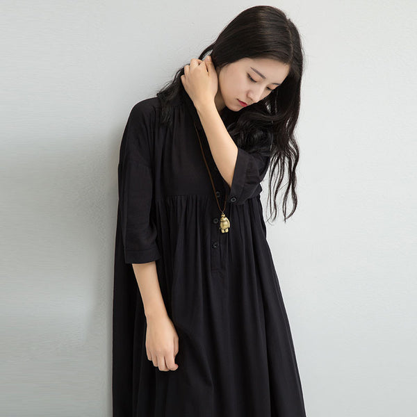 Women Casual Folded Lining Black Dress - Buykud