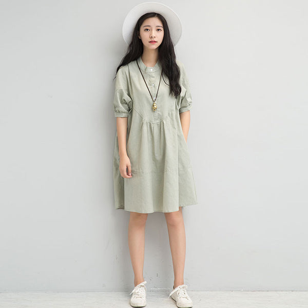 Cotton Linen Women Simple Folded Button Green Dress - Buykud