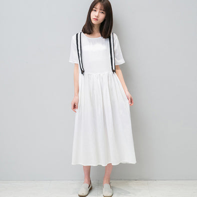 Folded Women Loose Cotton Linen Casual White Dress - Buykud