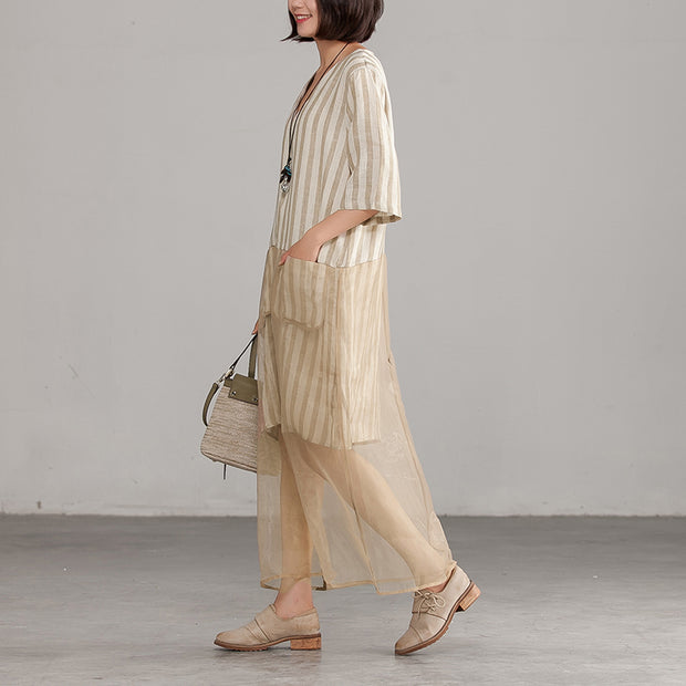 Khaki V-neck Loose Casual Summer Dress
