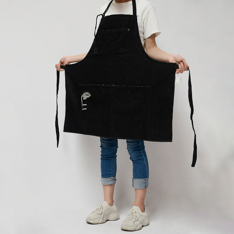 Kitchen Baking Denim Halter Apron