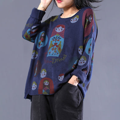 Knit Print O-neck Vintage Matryoshka Doll Sweater