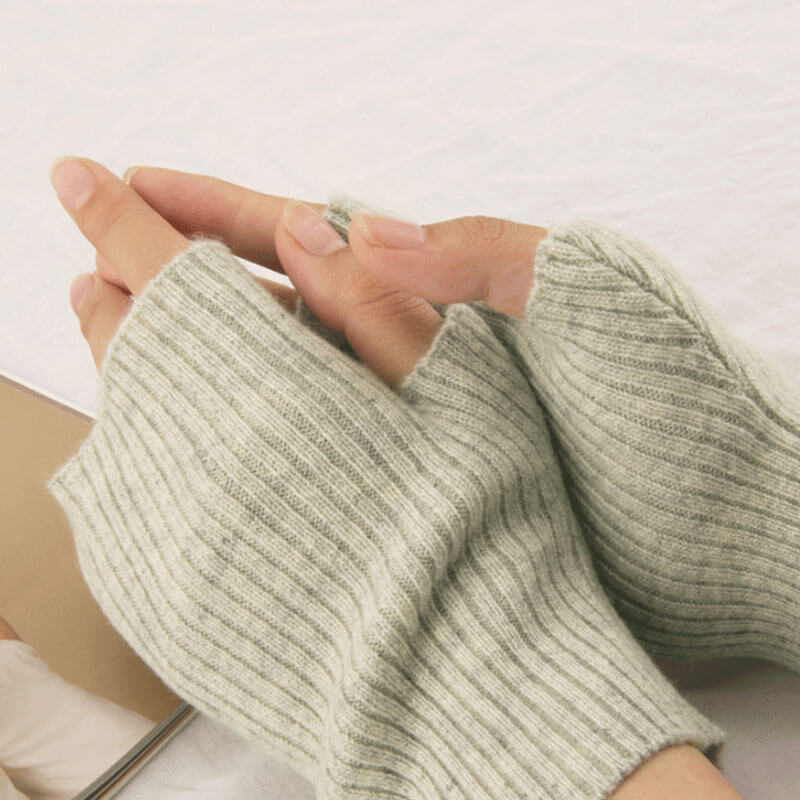 Knitted Cashmere Half-finger Warm Gloves