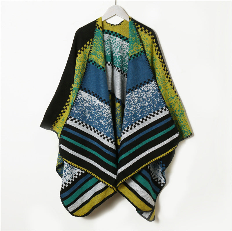 Knitted Color Contrasting Stripes Scarf