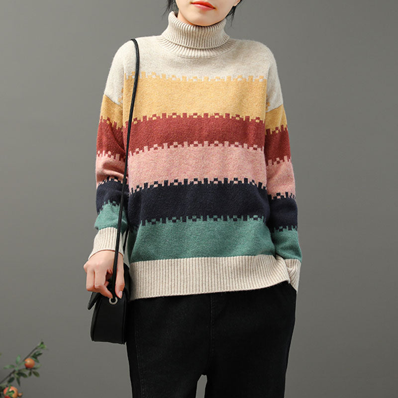 Knitted Color Stitching Women Turtleneck Sweater