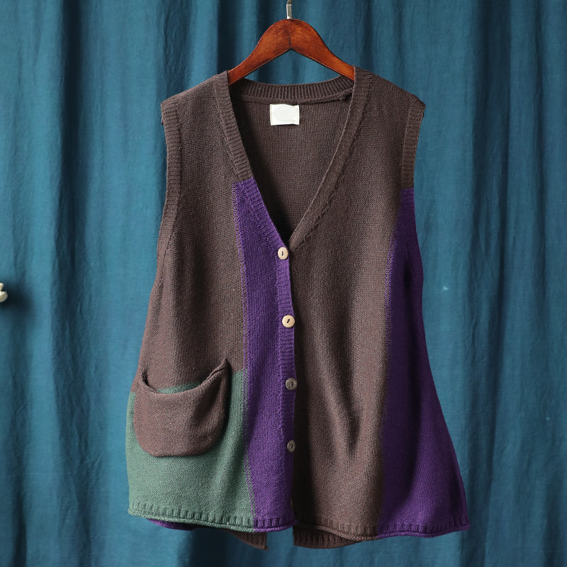 Knitted Retro Loose Color Contrast Vest Coat