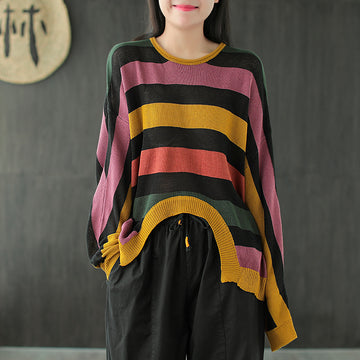 Knitted Striped Loose Irregular Hem Pullover