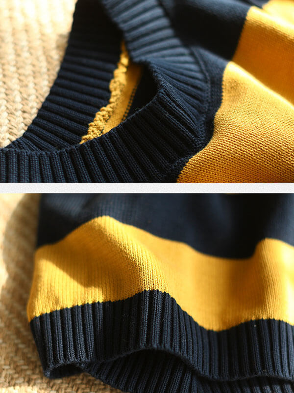 Knitted Striped Pocket Sleeveless Sweater Vest