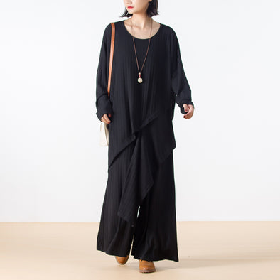 Knitting Cotton Casual Women Black Suit