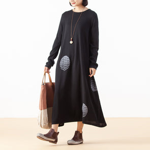 Knitting Cotton Jacquard Long Casual Dress