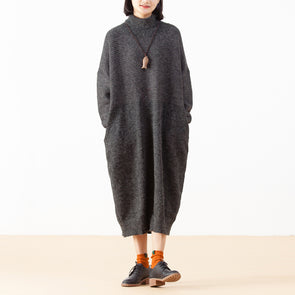 Knitting Solid Loose Jacquard Drop Shoulder Dress