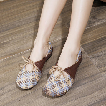 Lace-up Color Matching Leather Woven Loafers