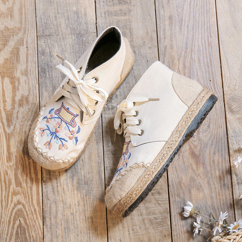 Lace-up Floral Embroidered Flat Canvas Shoes
