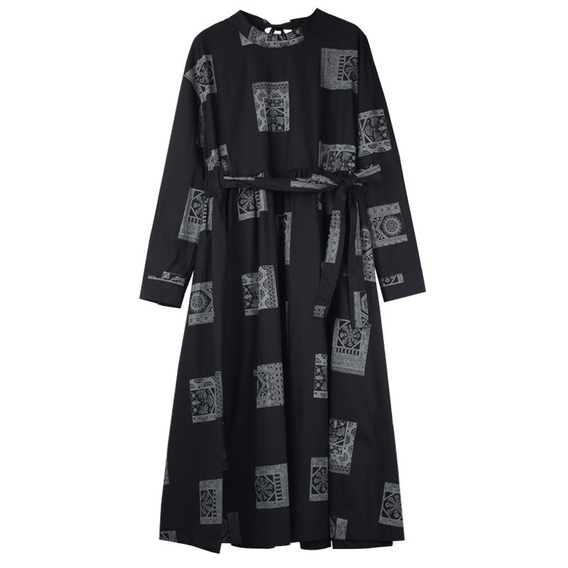 Plus Size -  Lace-up Design Fashion Printed Dress
