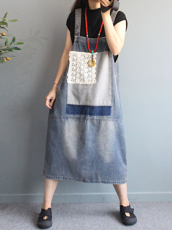 Lace Patchwork Casual Distressed Denim Suspender Dress