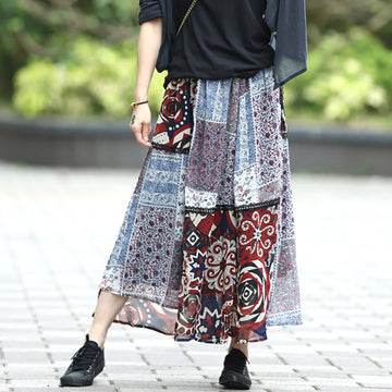 Lace Stitching Irregular Chiffon Printed Skirt